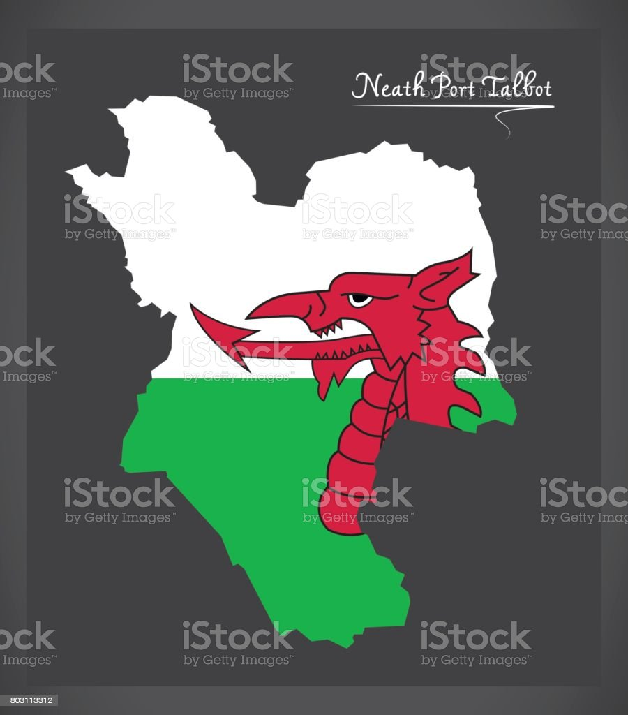 Neath Port Talbot Wales map with Welsh national flag illustration vector art illustration
