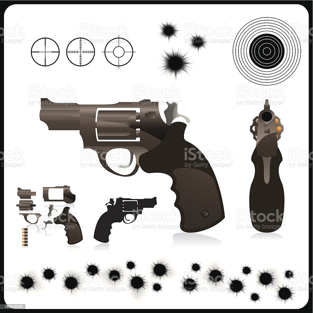 Neatly constructed handgun vector art illustration