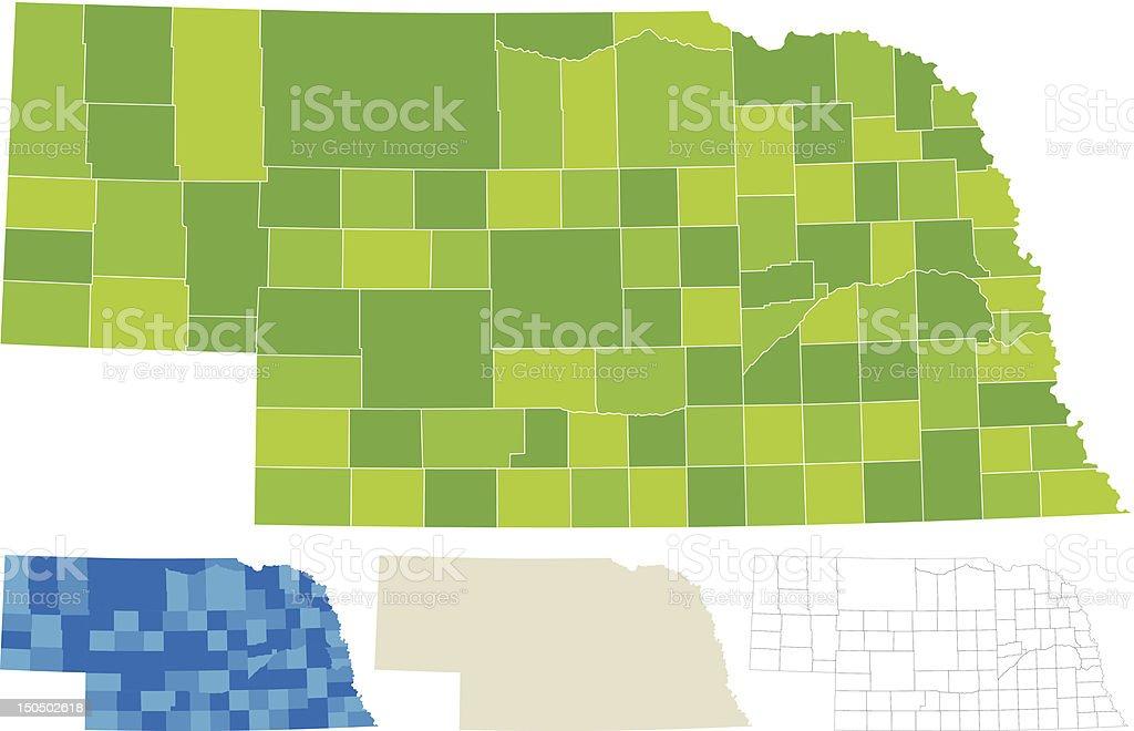 Nebraska County Map royalty-free stock vector art