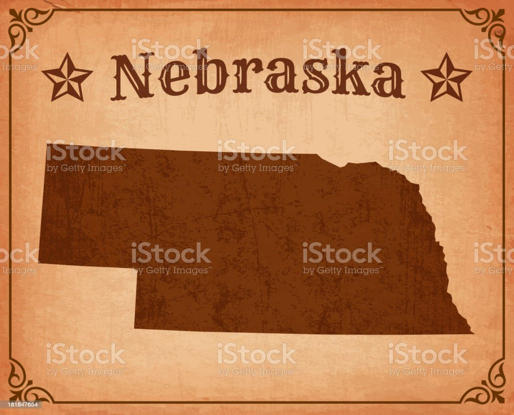 Nebraska Grunge Map with Frame royalty-free stock vector art