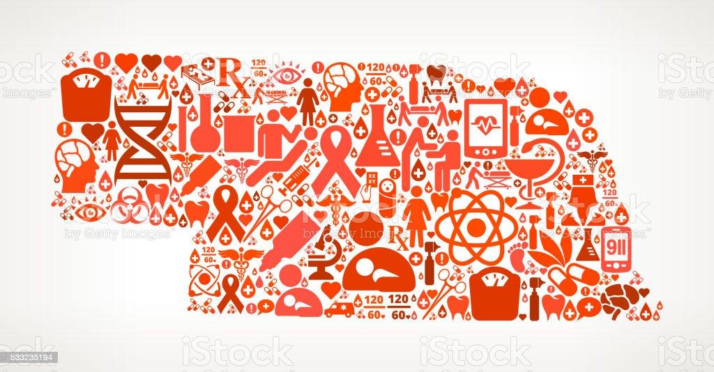 Nebraska Healthcare and Medical Red Icon Pattern vector art illustration