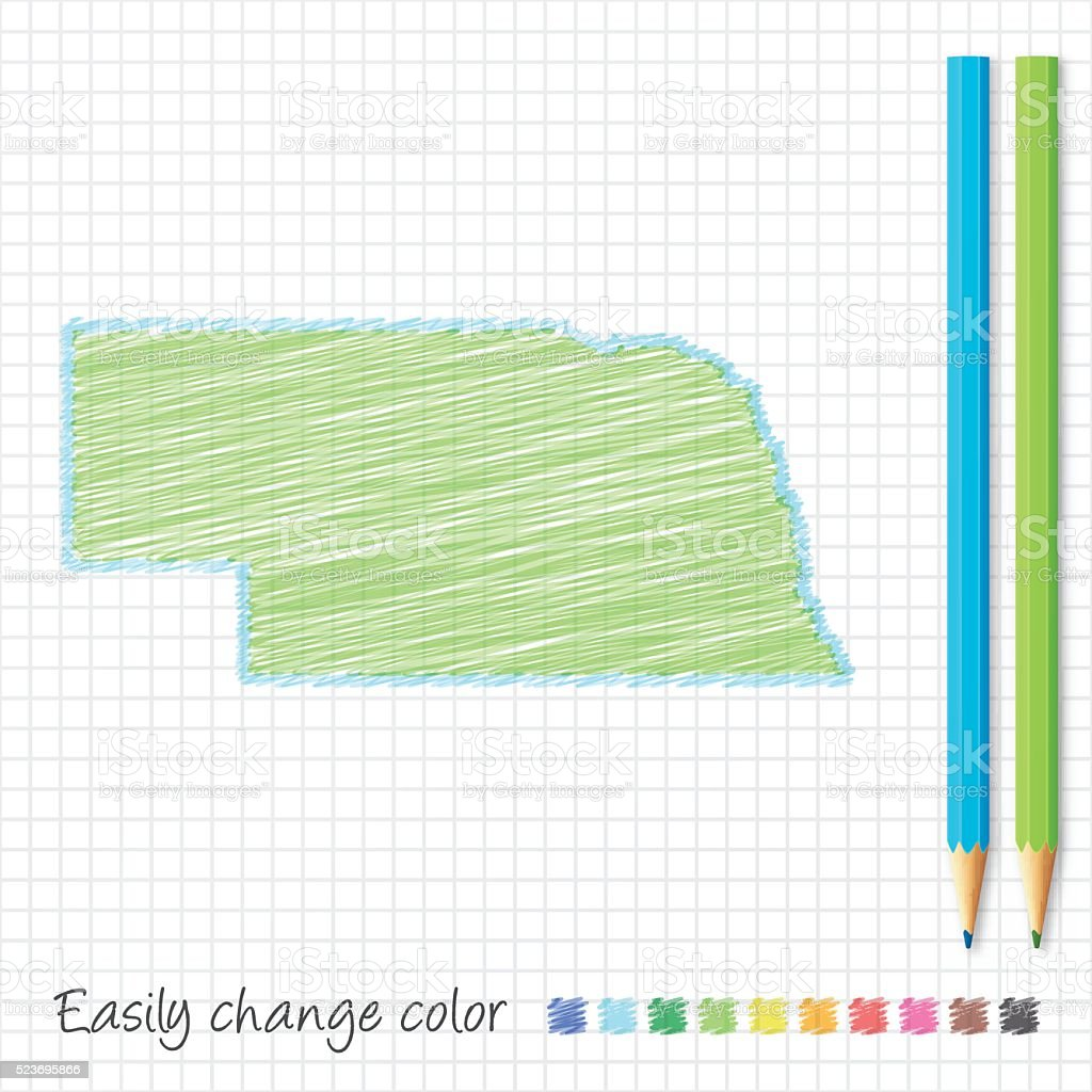Nebraska map sketch with color pencils, on grid paper vector art illustration