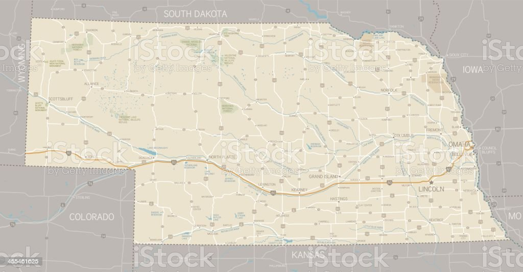 Nebraska Map royalty-free stock vector art