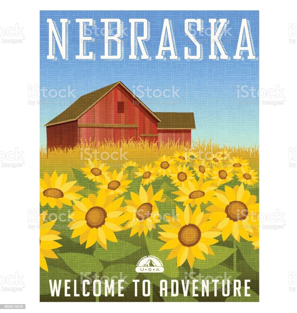 Nebraska travel poster. Vector illustration of sunflowers in front of old red barn. vector art illustration