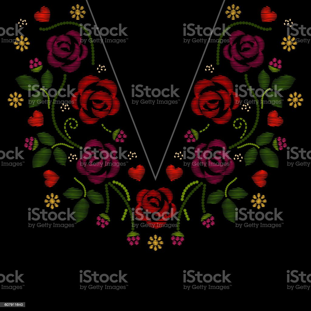 Neck line embroidery with roses flowers vector illustration vector art illustration