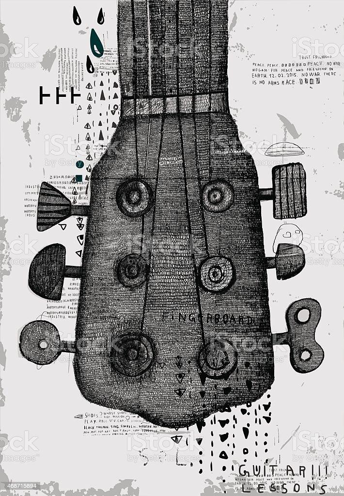 Neck of the guitar vector art illustration