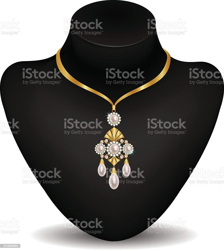 Necklace on a dummy vector art illustration