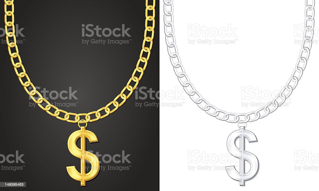 necklace with dollar sign vector art illustration