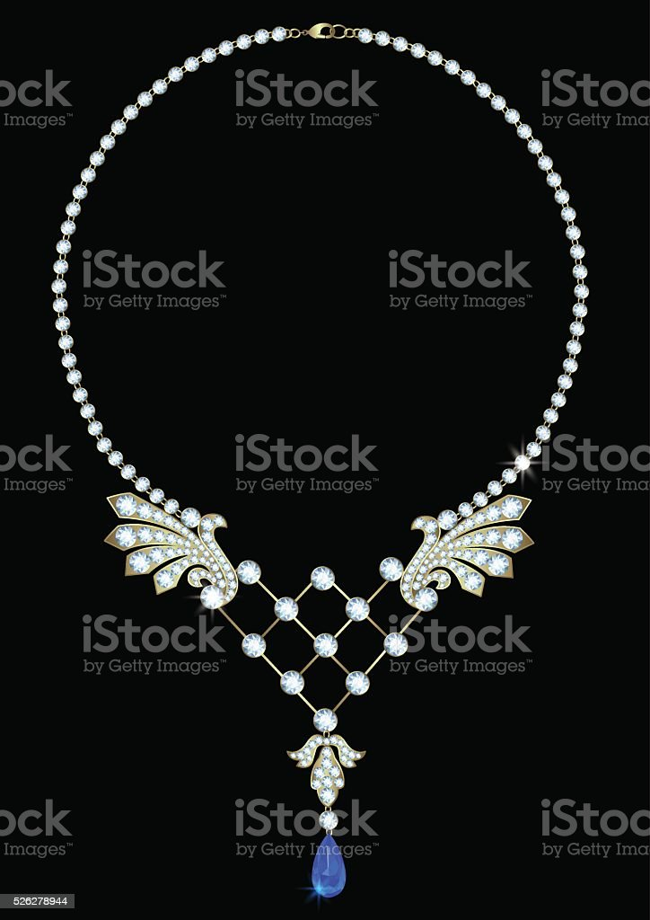 Necklace with sapphire vector art illustration