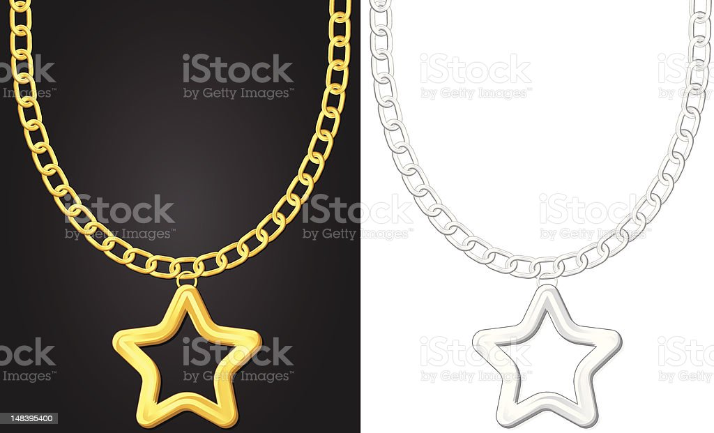 necklace with star symbol royalty-free stock vector art