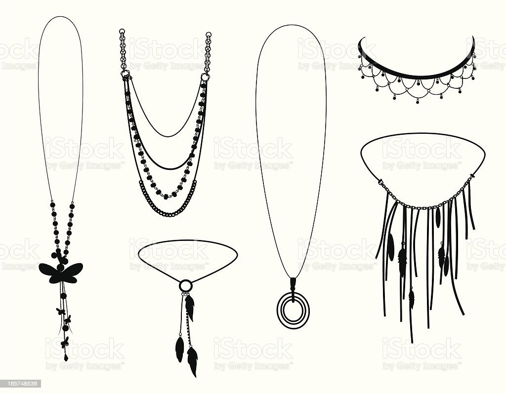 Necklaces Vector Silhouette royalty-free stock vector art