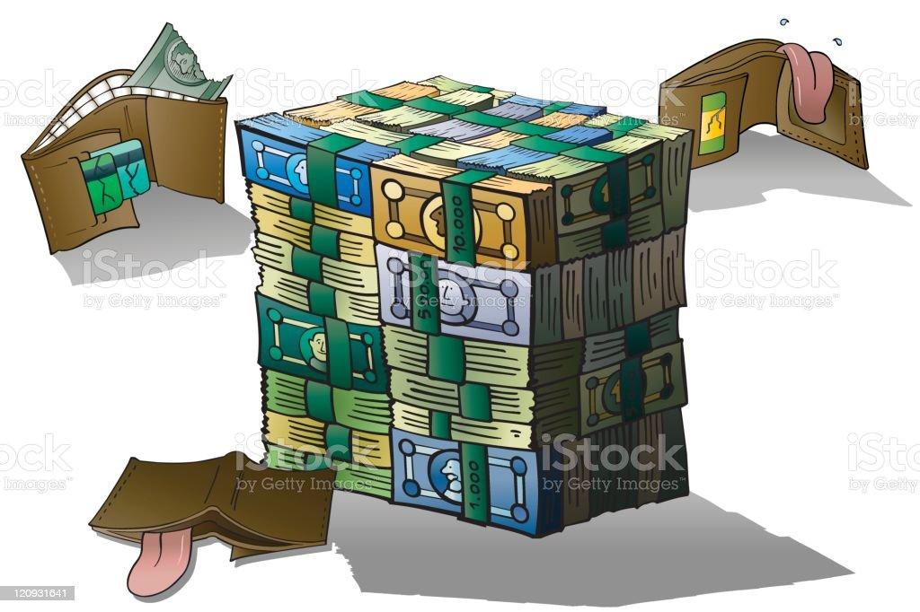 Need money vector art illustration