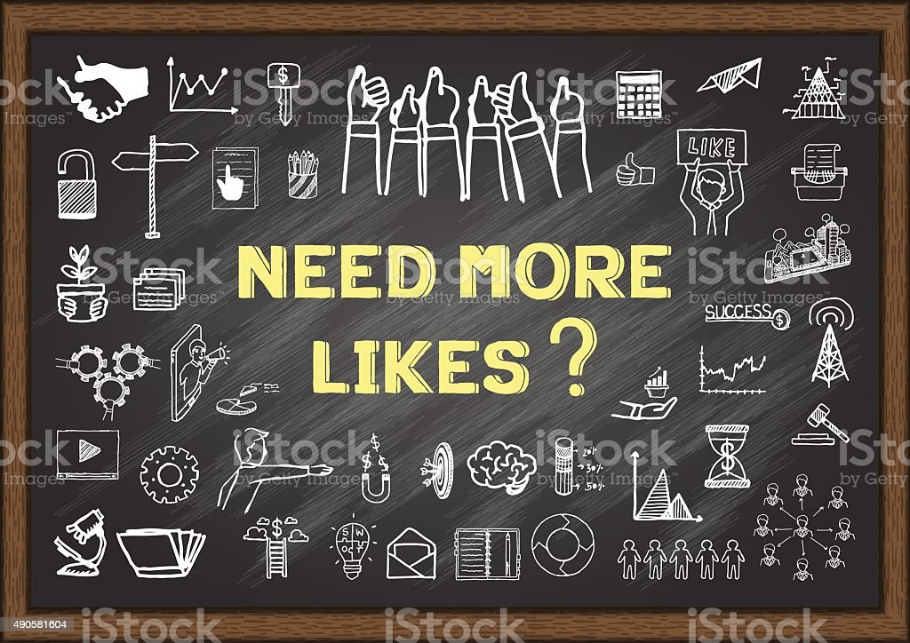 Need more like ? on chalkboard vector art illustration