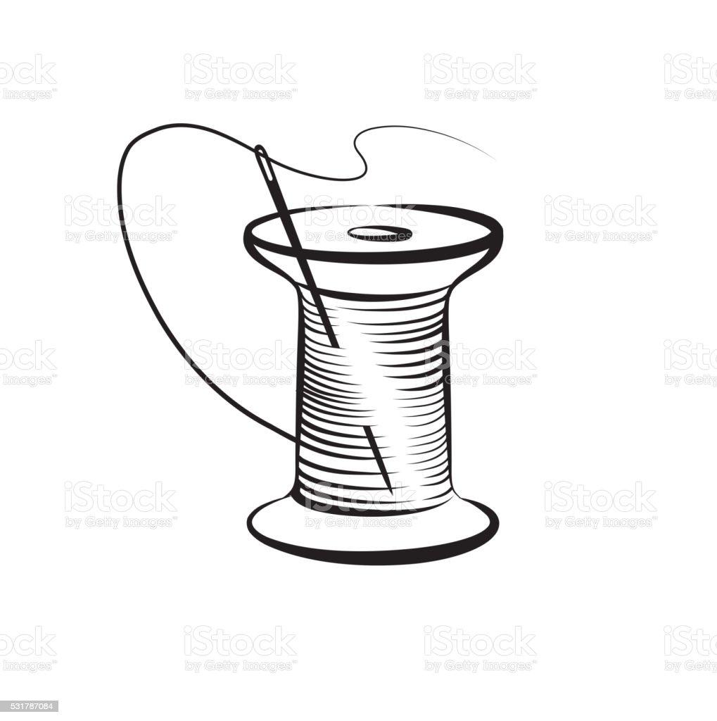 Needle and thread symbol. Needlework icon. Fancywork label. vector art illustration