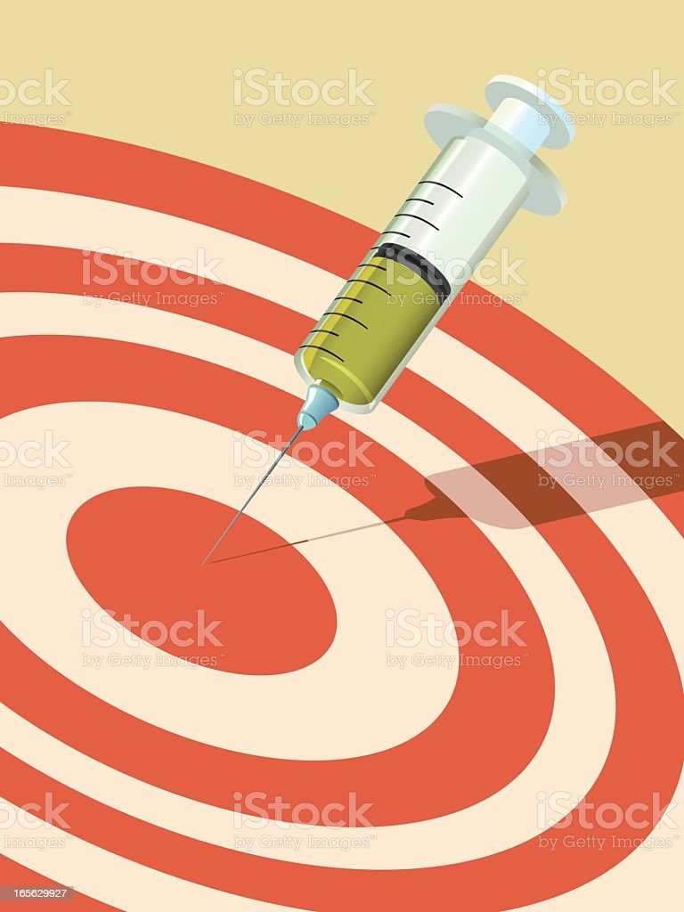 A needle portraying a dart in the center of a target vector art illustration
