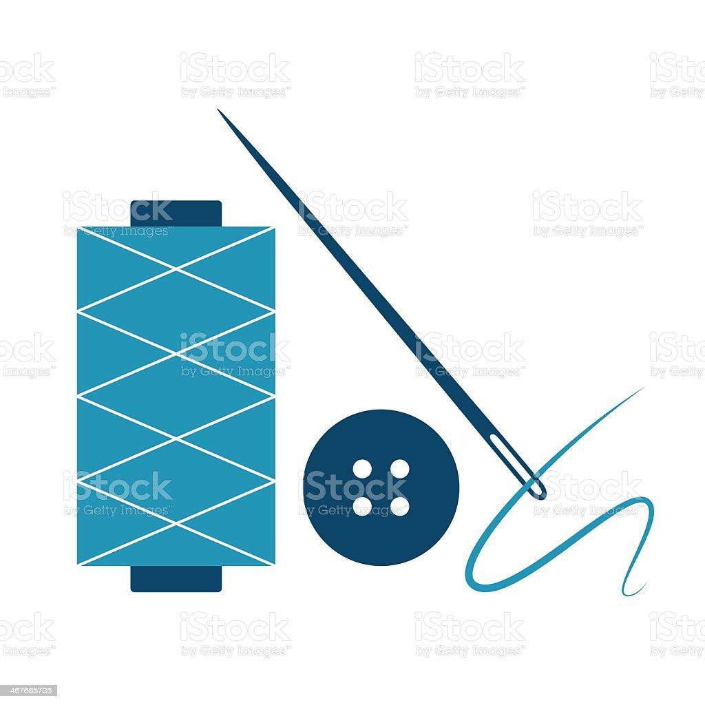 Needle, thread and button vector art illustration