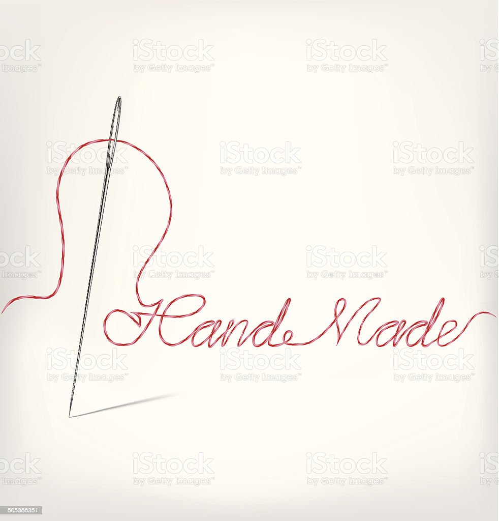 Needle with thread hand made isolated on white. Vector illustration vector art illustration