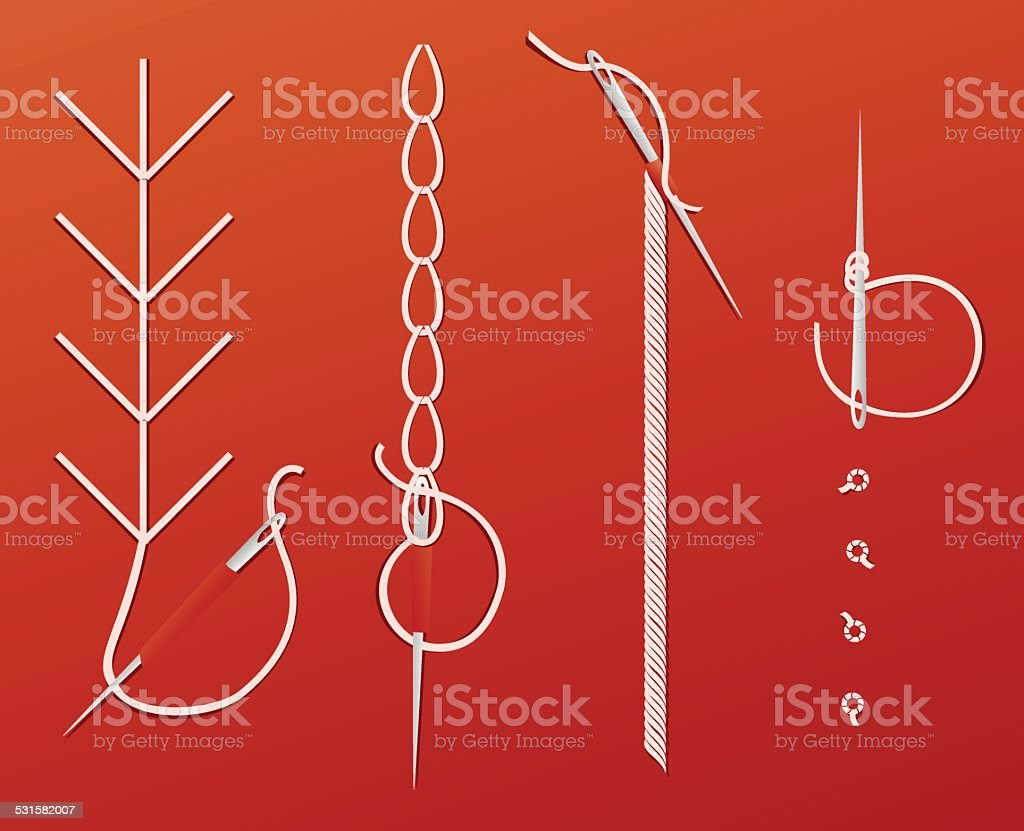 Needles and threads vector art illustration
