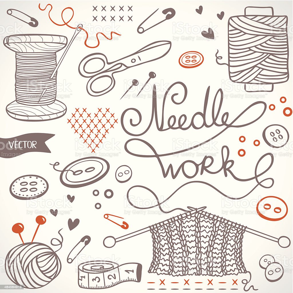needlework set vector art illustration
