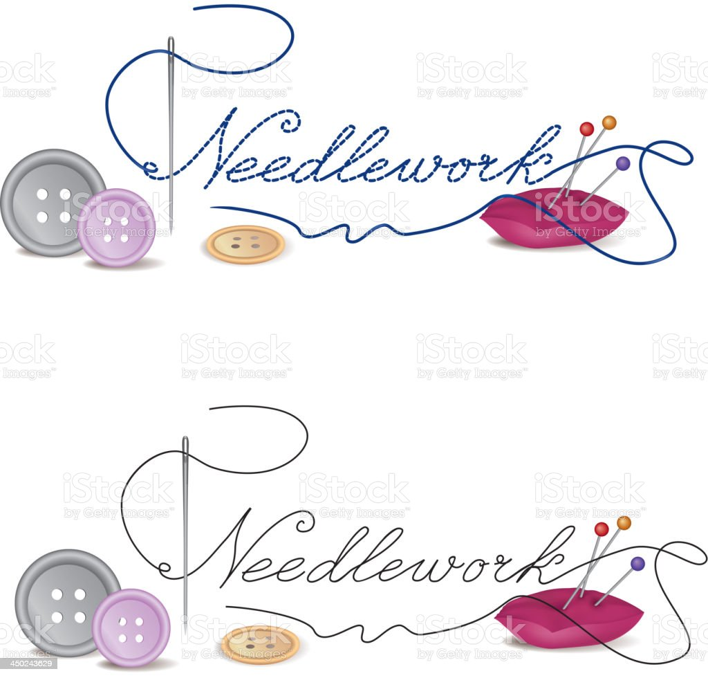 Needlework title with Sewing Design Elements royalty-free stock vector art