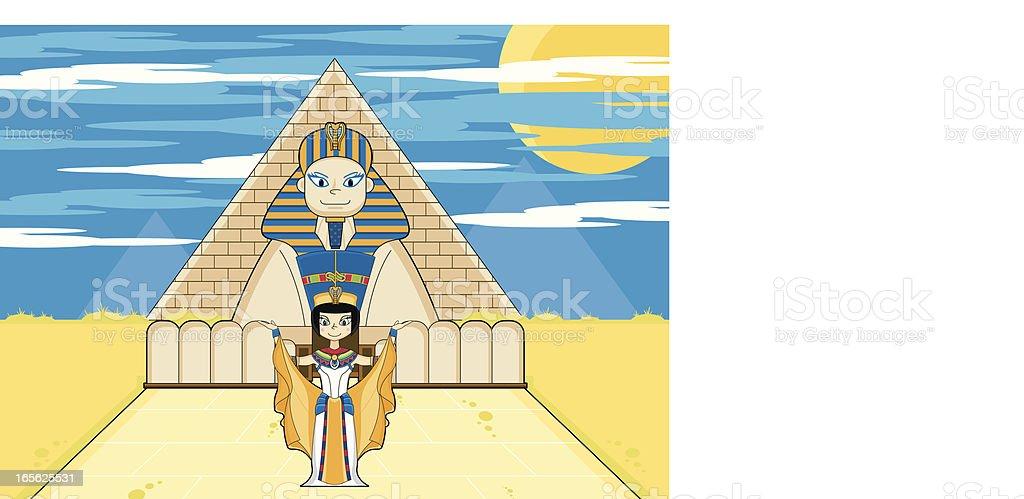 Nefertiti Egyptian Queen & Sphinx royalty-free stock vector art