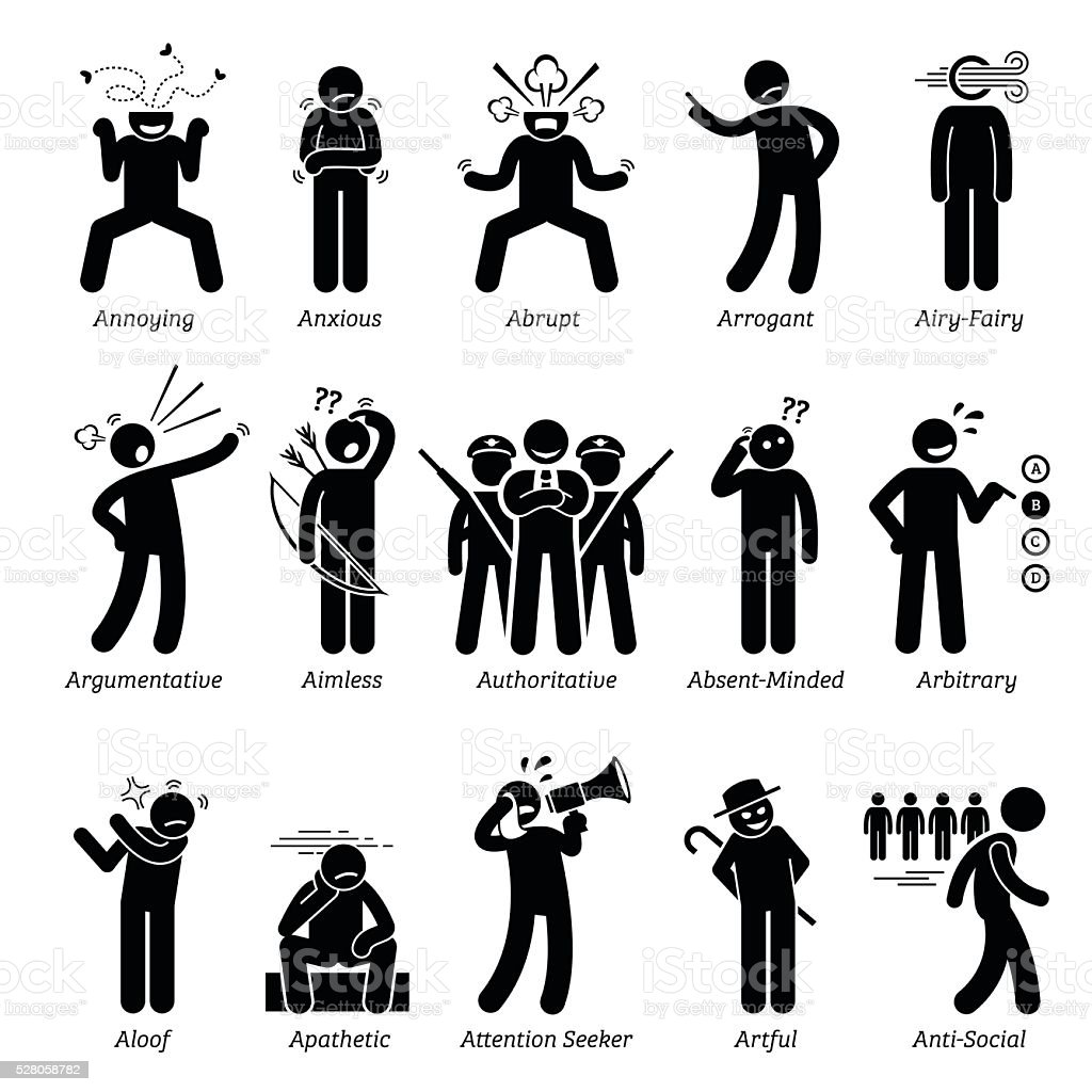 Negative Bad Personalities Character Traits. Stick Figures Man Icons. vector art illustration