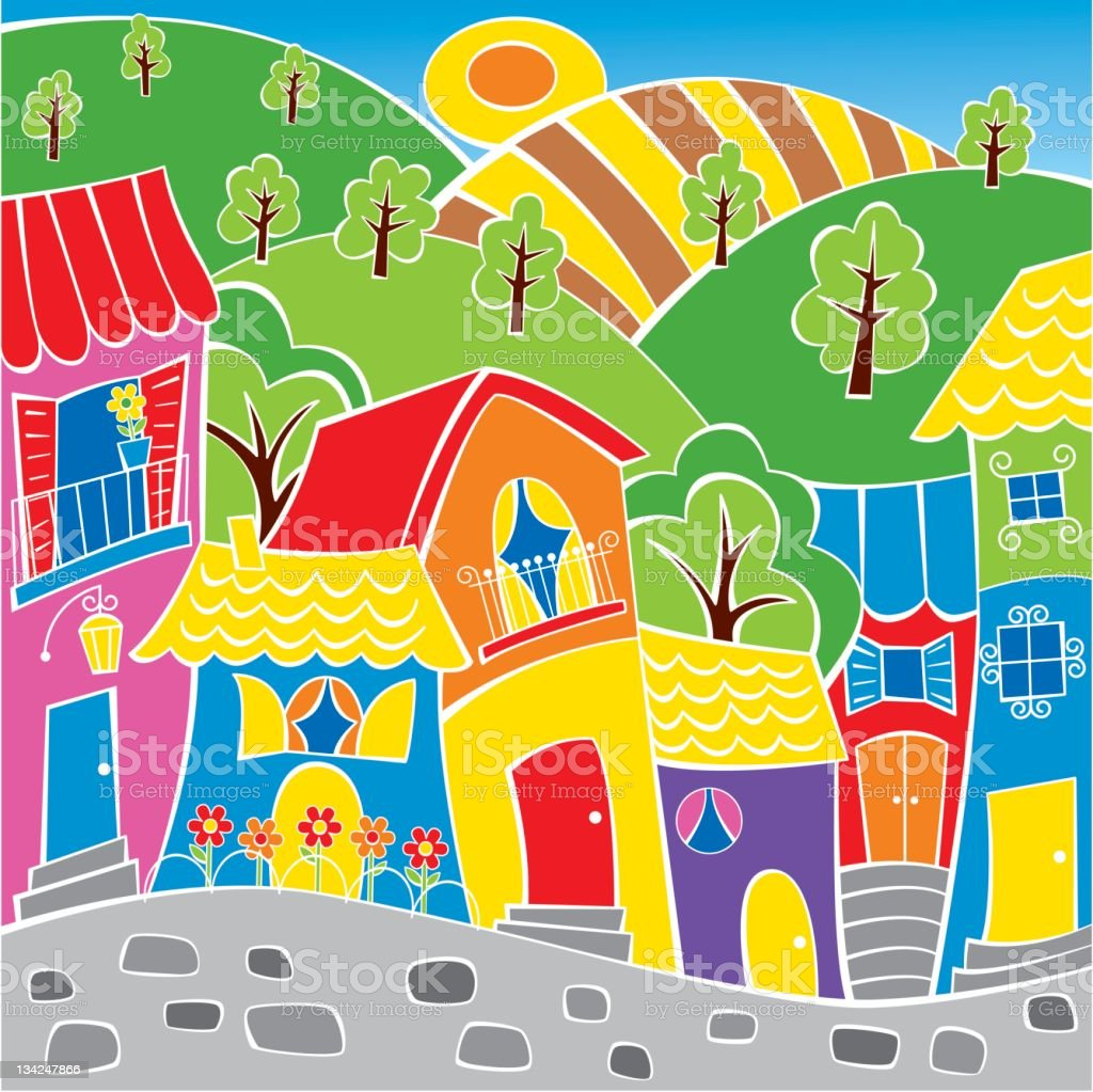 Neighborhood 2 vector art illustration