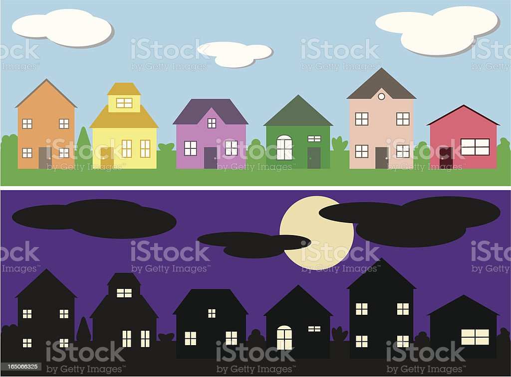 Neighborhood Day/Night royalty-free stock vector art