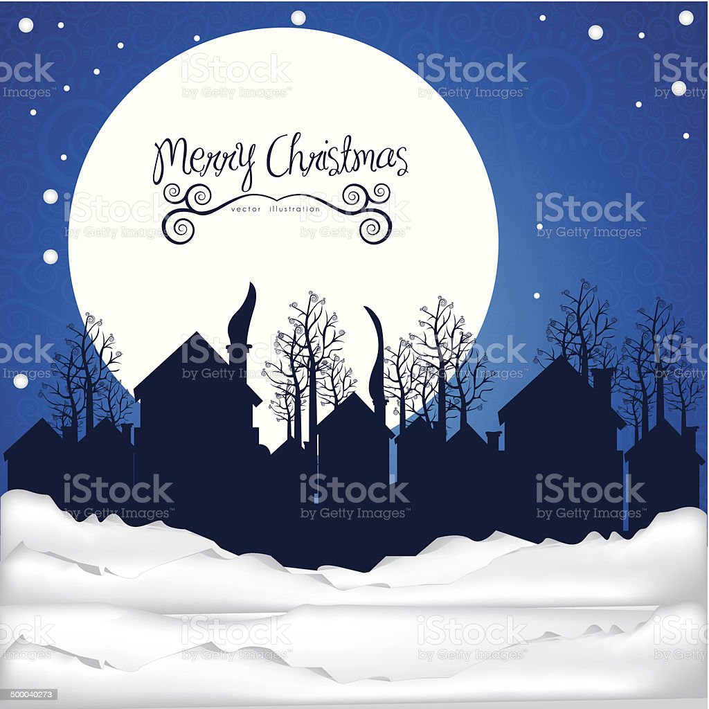 neighborhood on the  Christmas eve royalty-free stock vector art