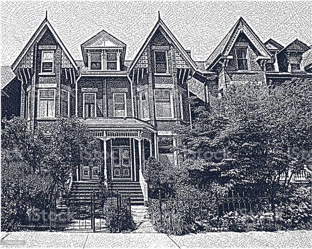Neighborhood. Restored Victorian Homes vector art illustration