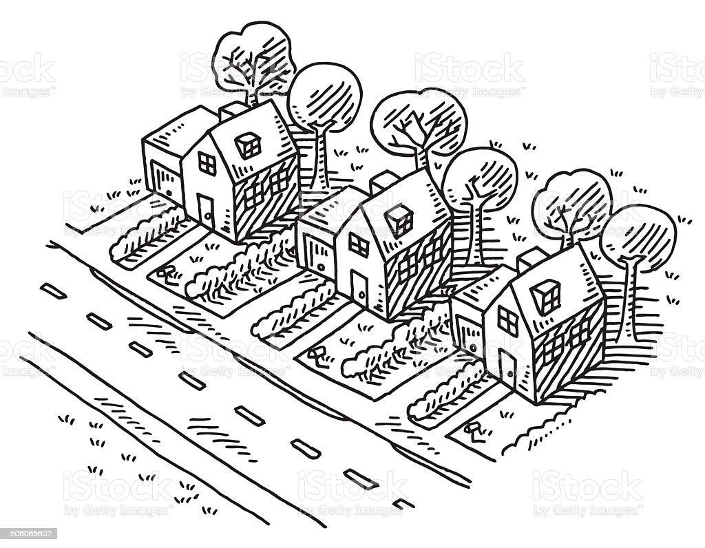 Neighborhood Similar Homes Drawing vector art illustration