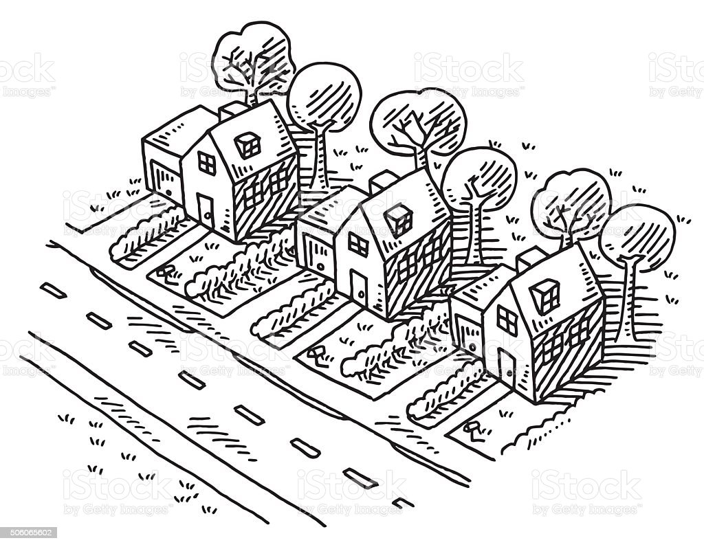 Neighborhood Similar Homes Drawing vector art illustration