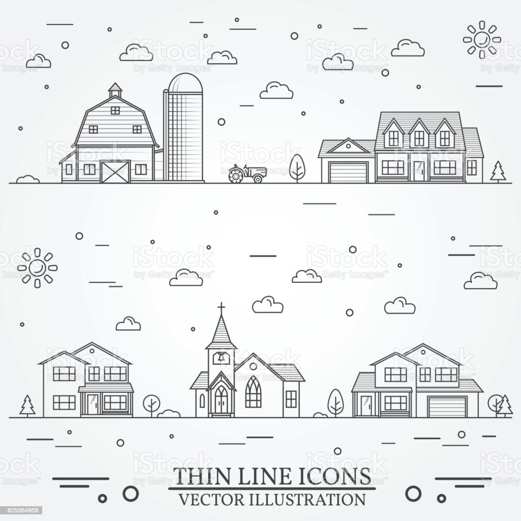 Neighborhood with buildings illustrated on white vector art illustration