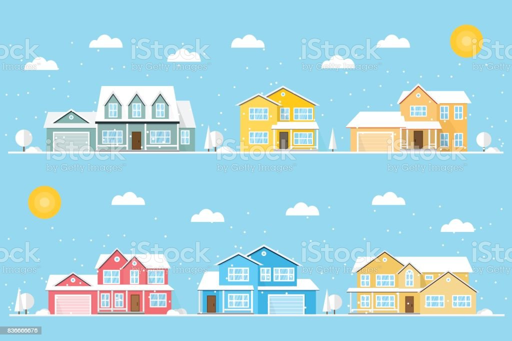 Neighborhood with homes and snowflakes illustrated on the blue background vector art illustration