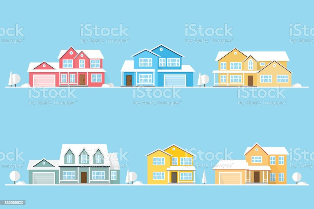 Neighborhood with homes illustrated on blue vector art illustration
