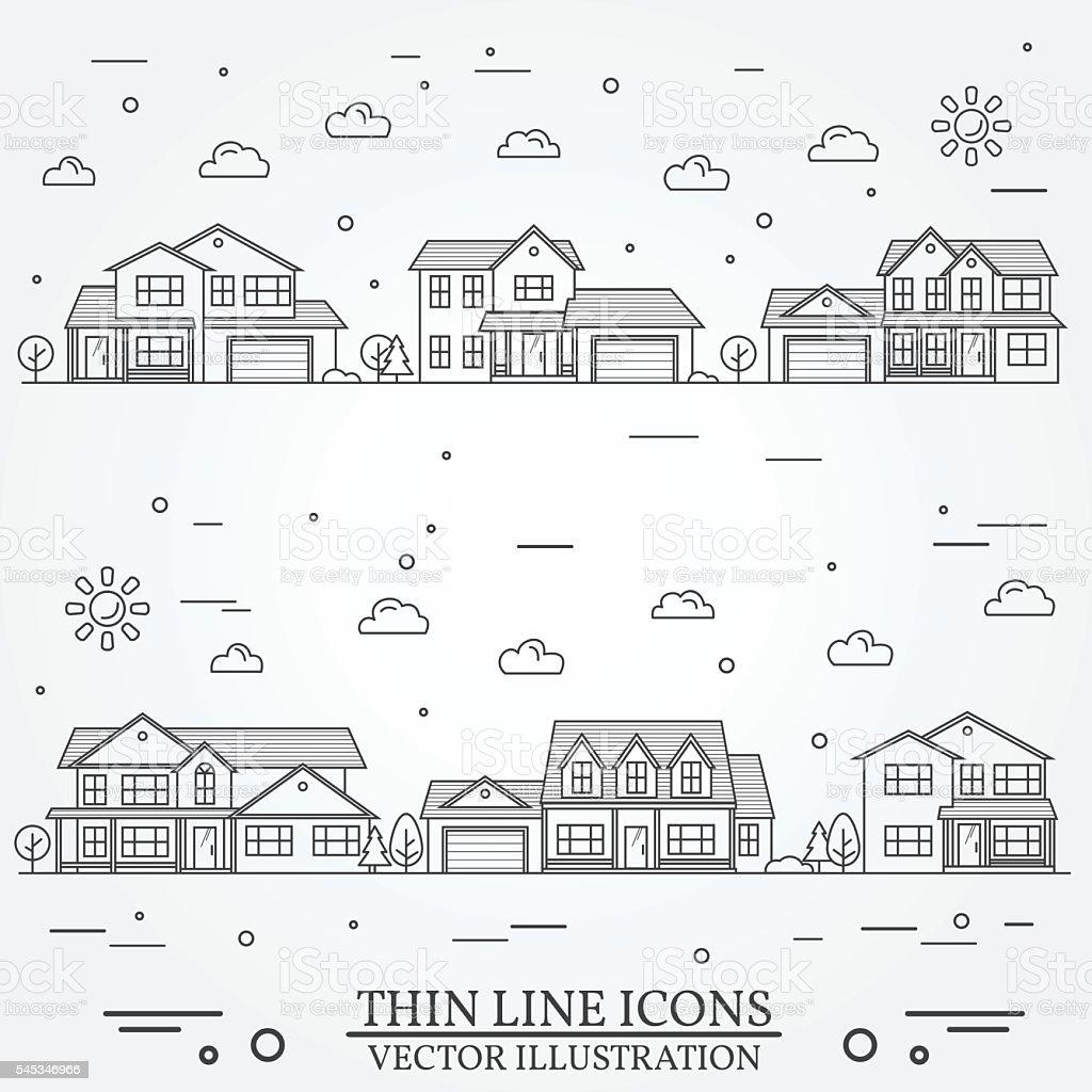 Neighborhood with homes illustrated on white. vector art illustration