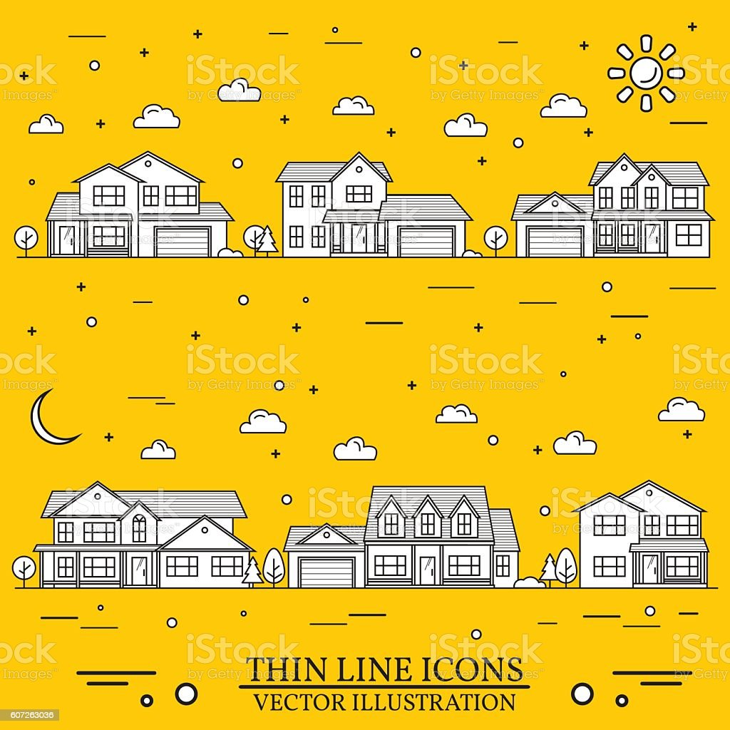 Neighborhood with homes illustrated white and purple background. vector art illustration
