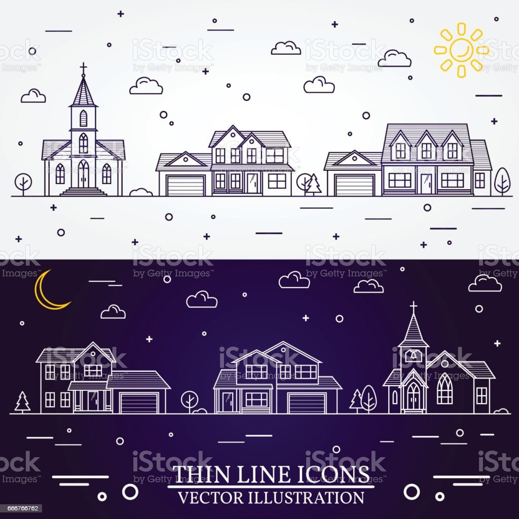 Neighborhood with homes illustrated white and purple background vector art illustration