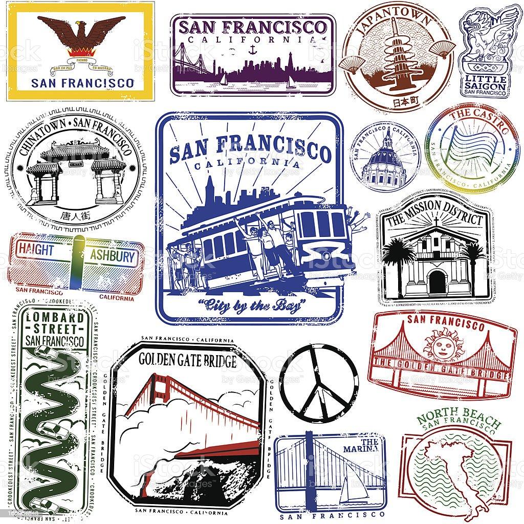 Neighborhoods of San Francisco vector art illustration