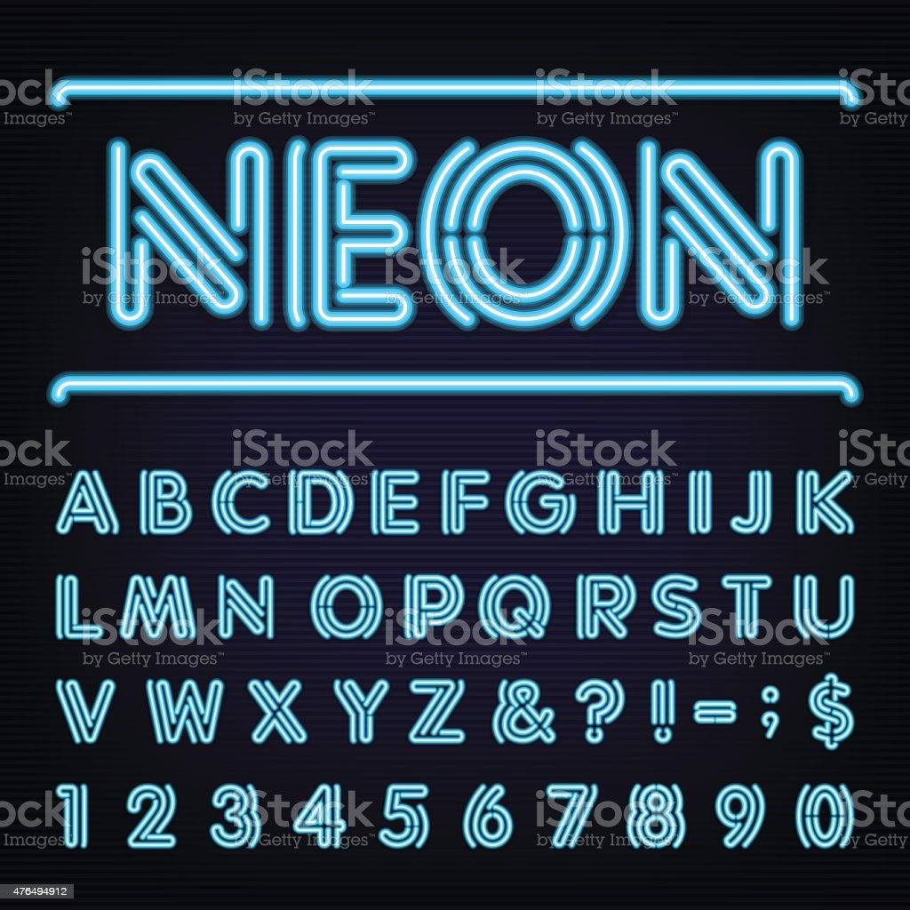 Neon Blue Light Alphabet Vector Font. vector art illustration