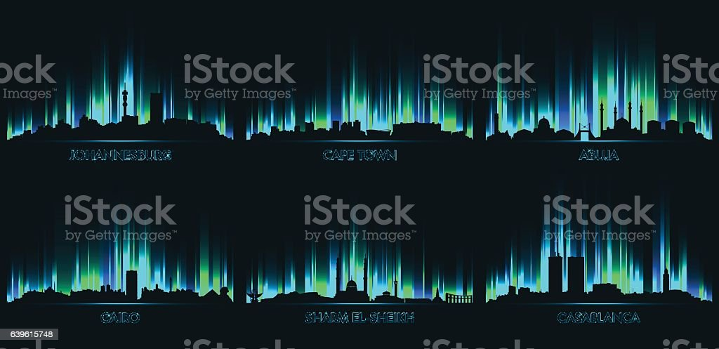 Neon city skyline Johannesburg, Cape Town vector art illustration