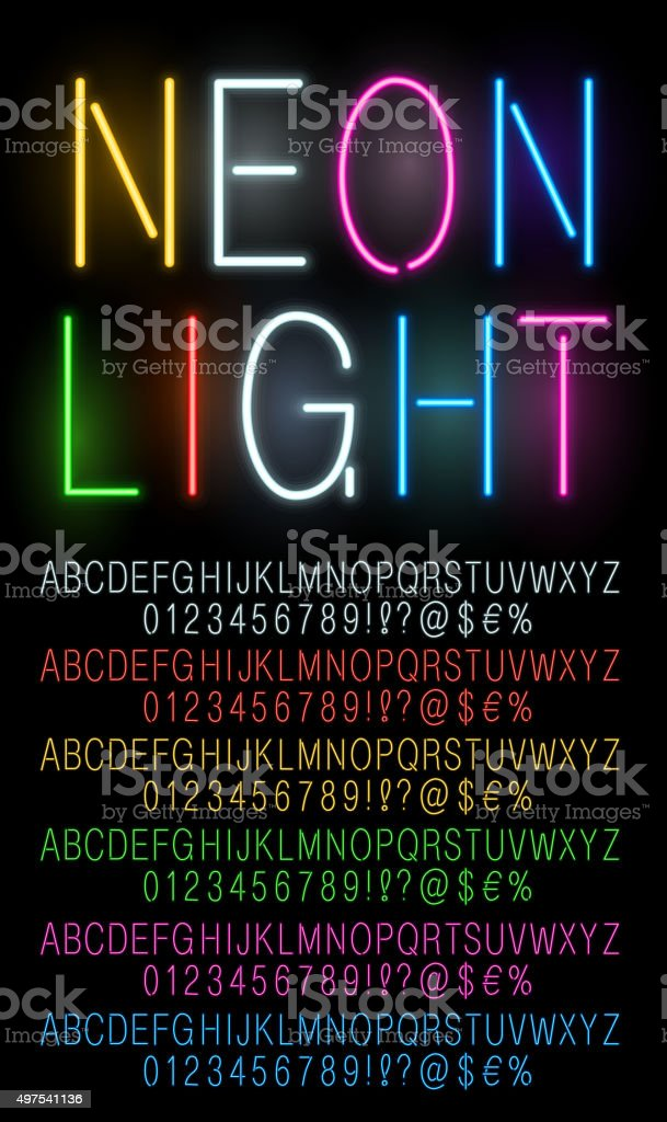 Neon colored fonts vector art illustration