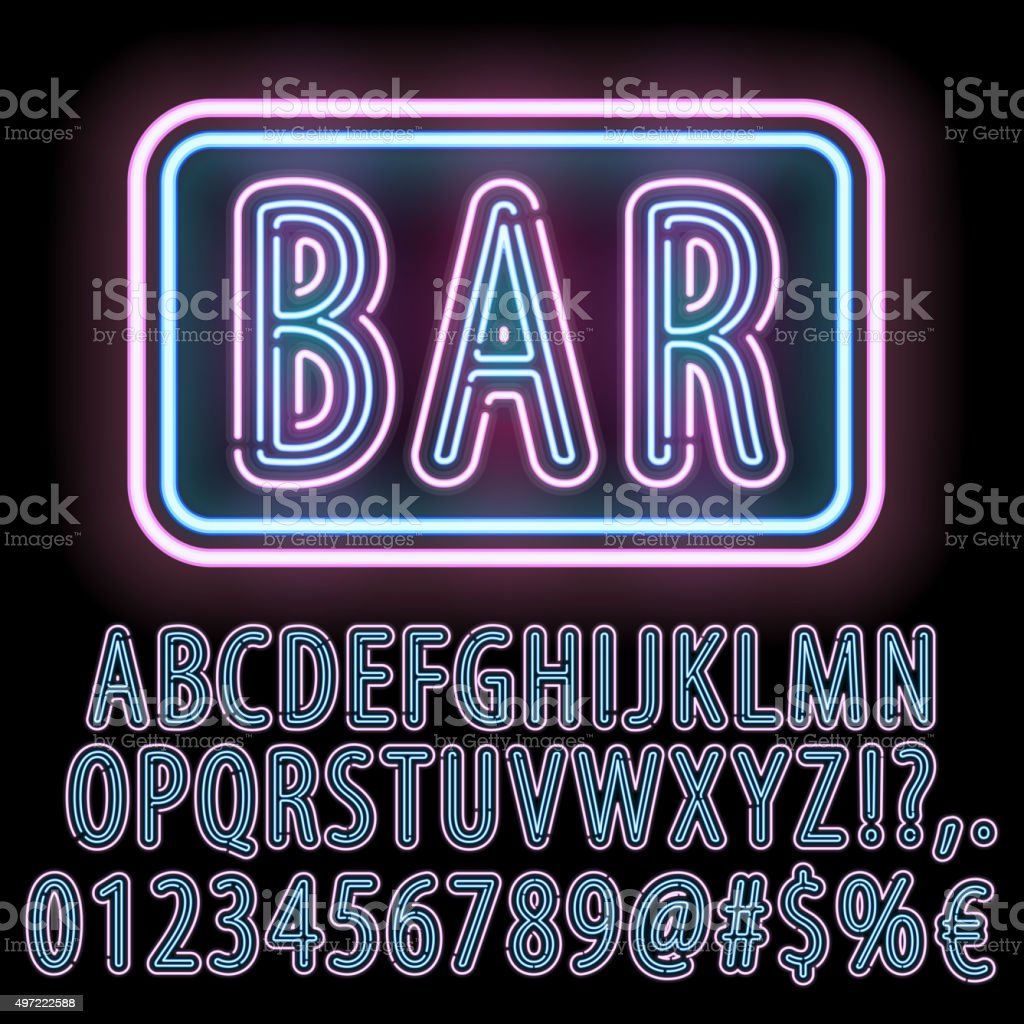 Neon font set vector art illustration