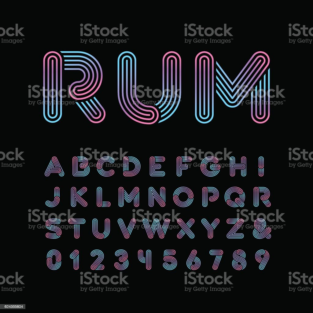 Neon font. Vector alphabet with neon stripes effect. vector art illustration