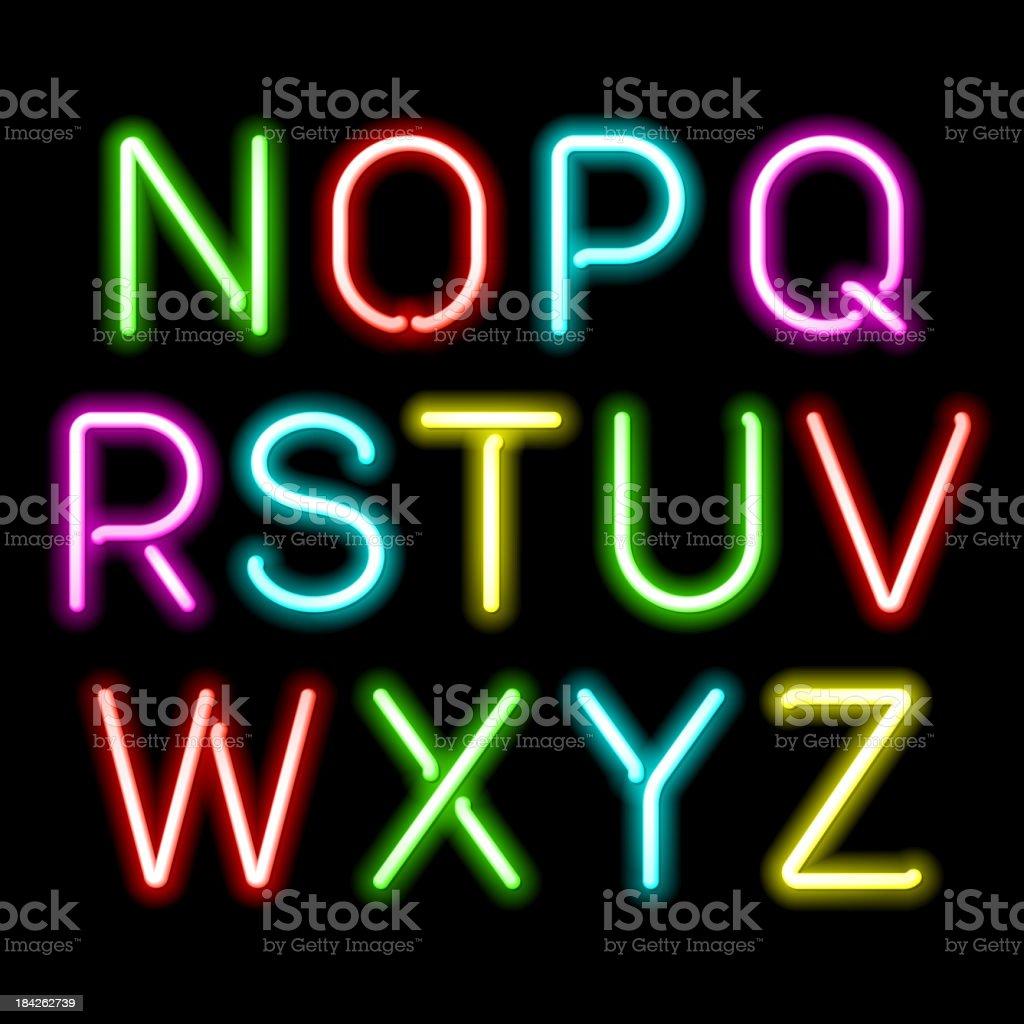 Neon glow alphabet vector art illustration