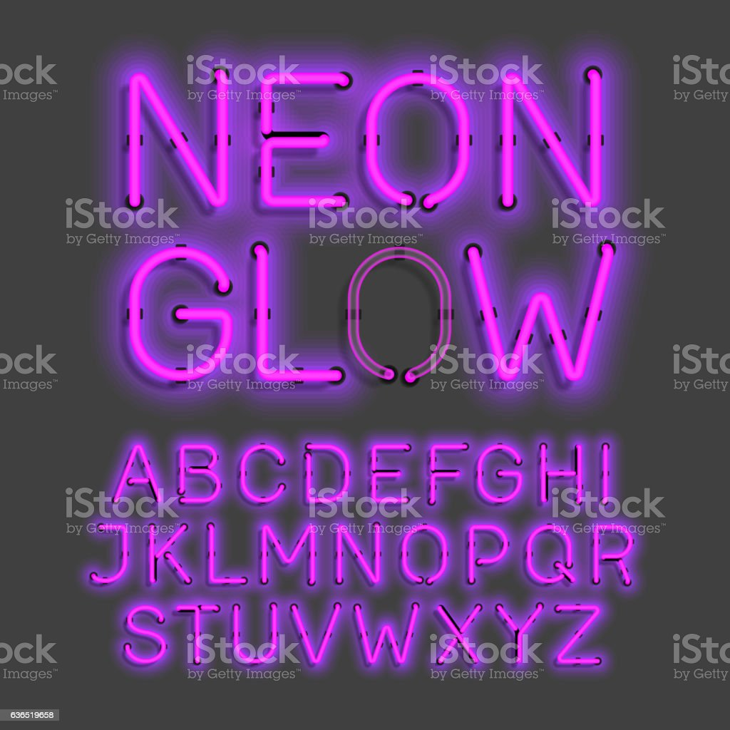 Neon Glow alphabet vector art illustration