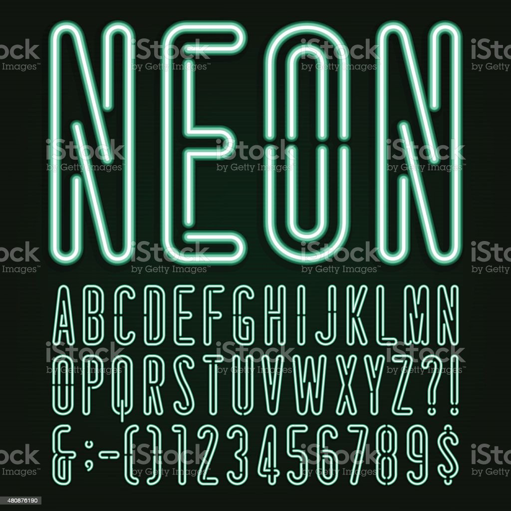 Neon Green Light Alphabet Vector Font. vector art illustration