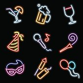 neon icons - party