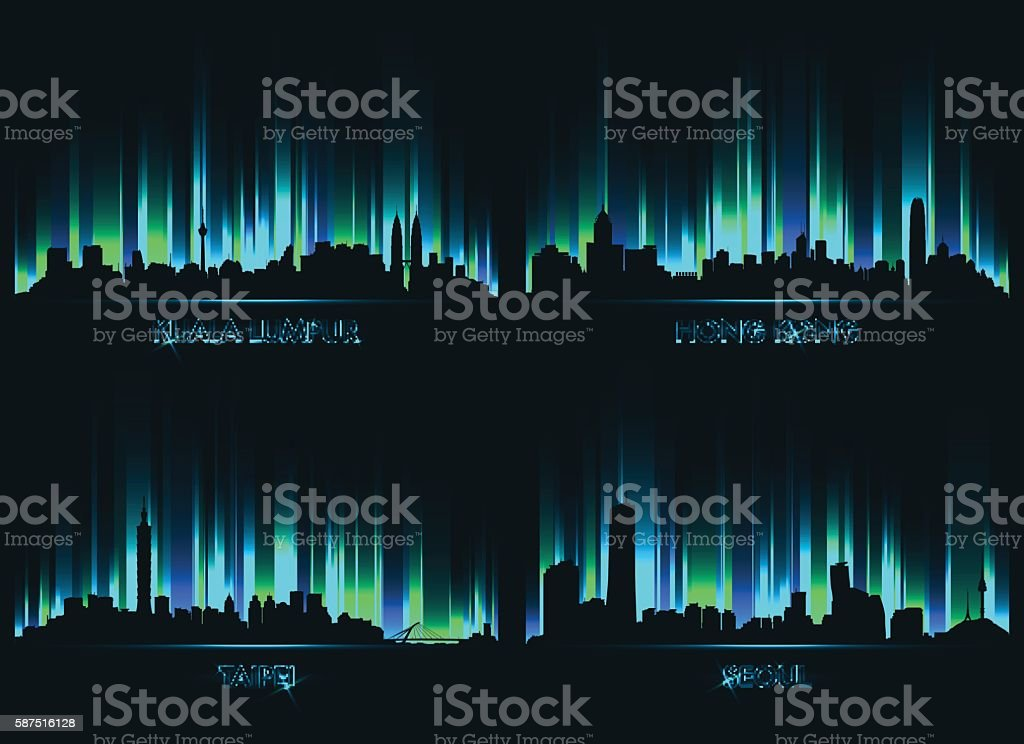 Neon сity skyline Kuala Lumpur, Hong kong, Taipei, Seoul vector art illustration