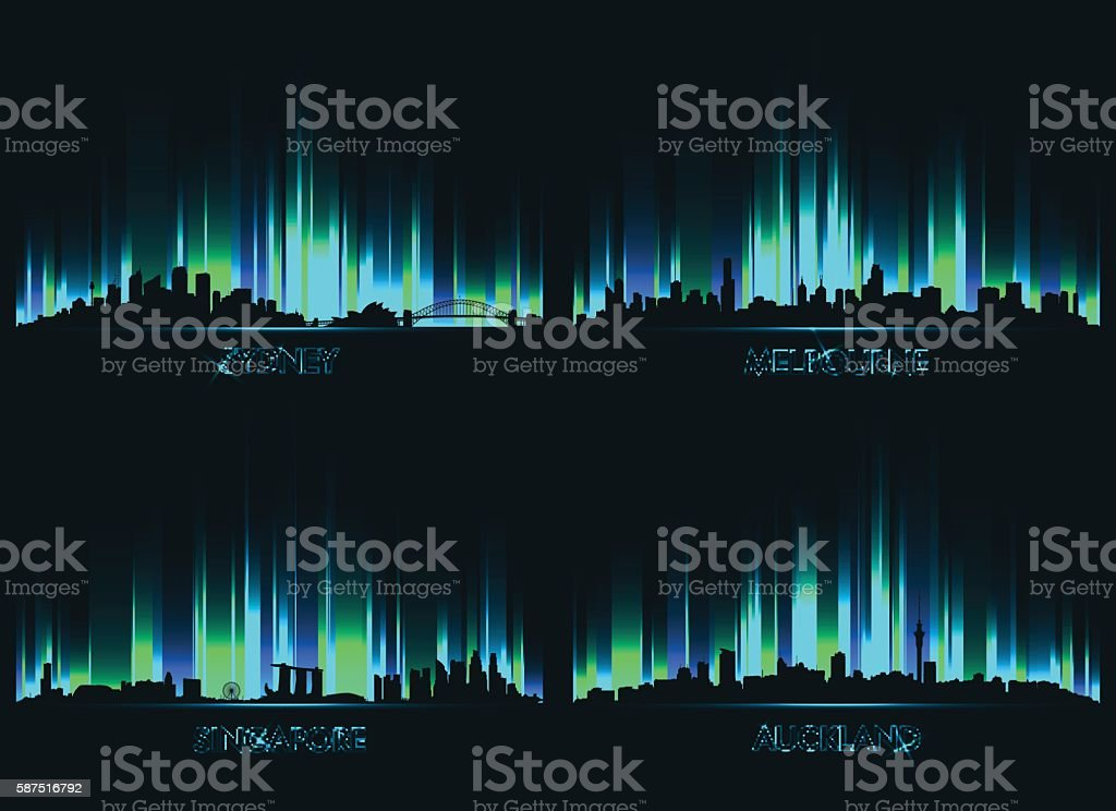 Neon сity skyline Sydney, Melbourne, Singapore and Auckland vector art illustration